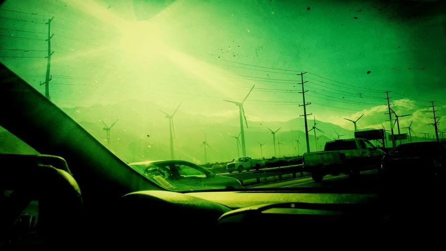 Scary Wind Turbines Car Land Vehicle Transportation Car Interior Windshield Mode Of Transport No People