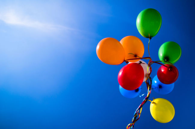 Balloon Blue Celebration Chilling Day Happy Low Angle View Multi Colored Outdoors Sky Sunny Day