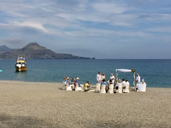 Water Sky Sea Nature Beach Cloud - Sky Sand Horizon Over Water Scenics Day Outdoors Large Group Of People Beauty In Nature Men Standing Real People People wedding Wedding On The Beach Wedding Ceremony White Color Life Events