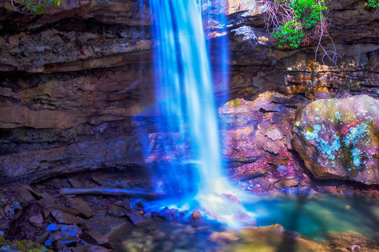 Magical lighting at Cucumber Falls at Ohiopyle State Park in Ohiopyle, PA. Waterfall Motion Rock - Object Long Exposure Water Outdoors No People Multi Colored Nature Day Beauty In Nature Ohiopyle Neighborhood Map Cucumber Falls Forest The Great Outdoors - 2017 EyeEm Awards