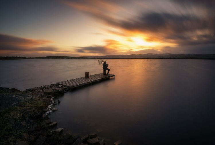 Gone fishing Fishing Sunset Landscape Tranquil Scene Travel Destinations Longexposure Water Nikonphotography Scotland Sunsetporn Long Exposure Cloud - Sky