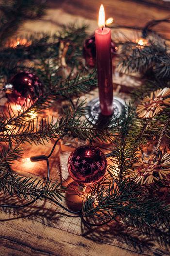 Illuminated christmas lights on tree