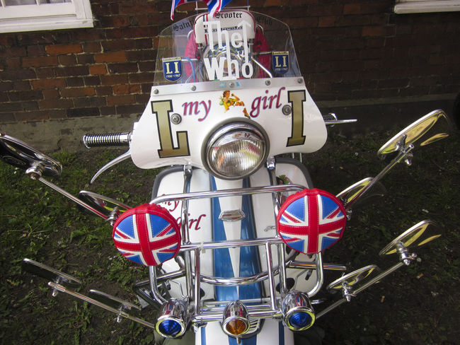 Mods Scooter Brighton 1960's Building Exterior City Life Day Fashion In Front Of Lambretta Mod Multi Colored Outdoors Scooter Style Subway Station Symbol The Who Union Jack Vespa Vivid International