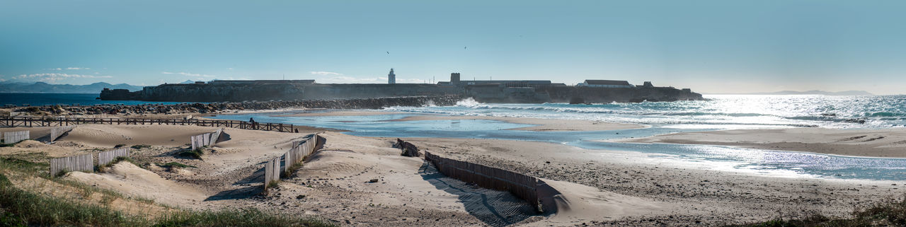 Breakwater in Tarifa beach. Andalusia, Spain Andalucía Atlantic Ocean Beach Beauty In Nature Breakwater Coast Coastline Costa De La Luz Cádiz, Spain Day Europe Mediterranean Sea Nature No People Outdoors Panorama Panoramic Protection Sand Sea Sky SPAIN Tarifa Spain Travel Destinations Water