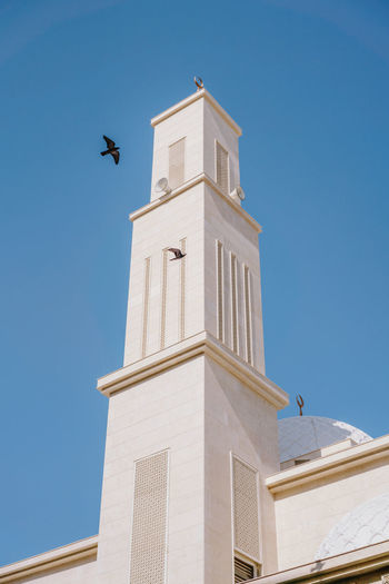 Mosque against blue skies with birds flying around it