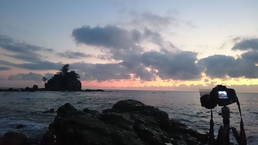 Good morning Sunrise Landscape Beautiful Lowtide  Beach Ocean Enjoying Life Hi! Relaxing That's Me Hello World Hanging Out Check This Out Taking Photos Sunshine Scenery Landmark Background Passionate Twilight Clouds And Sky Blue Sky Cheese! View Scene