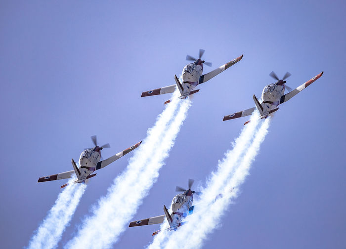 Acrobatic Activity Aerobatic, Team, Flying, Aircraft, Vintage AerobaticTeam Air Force Air Vehicle Airplane Airshow Airshow Aviation Beechcraft Blue Sky Clear Sky Flying Formation Flying Formation Flying IAF Ii Independence Day Israel Israeli Air Force Mid-air Military Airplane Sky Smoke T-6 Texan