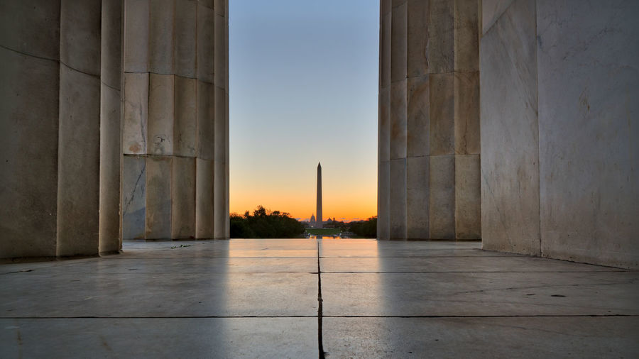 View of washington monument against sky during sunset