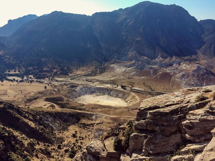 Nisos Nisiros Crater of the volcano View from Nikia Nisiros Nisyros Nisiro Nikia Volcano Crater Volcanic  Volcano Crater Volcanic Landscape Tourism Tour Tourist Attraction  Greece Greece Aegean Dodecanese Traveling Travelling Travel Trip Voyage Holidays