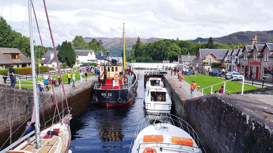 Lochness Scotland Scottish Highlands Outdoors Water Tourism FortAugustus Boats Canals And Waterways Caledonian Canal People Crowds Steamboat Nessie Thisisscotland Nautical Vessel Day Sky Clouds Blue Sky Reflection VisitScotland