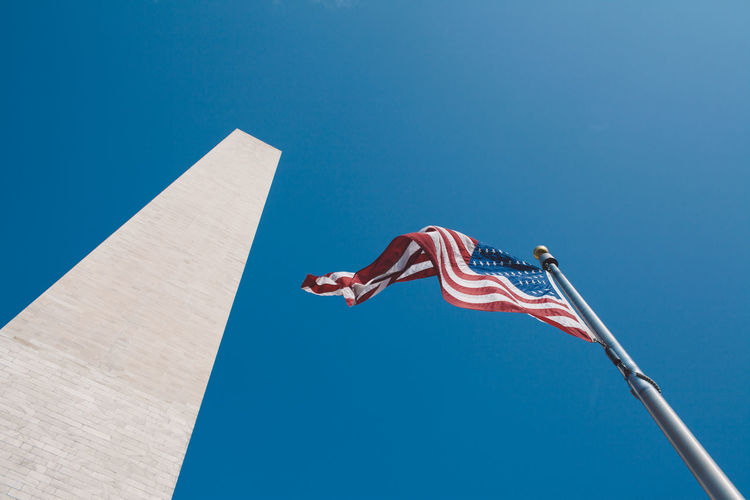 Washington DC Washington Monument Washington, D. C. WashingtonDC Blue Clear Sky Day Flag Low Angle View No People Outdoors Patriotism Sky Stars And Stripes Striped 17.62°