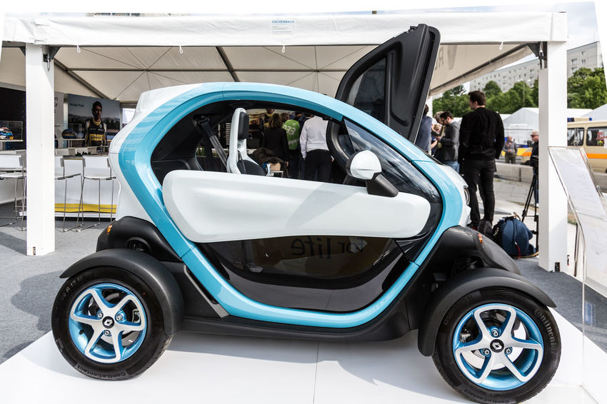 Berlin, Germany - May 20, 2016: Renault Twizy electric car presented during the E-Prix FIA Formula E race car competition. The Renault Twizy is a two-seat electric car designed and marketed by Renault Electric Cars Formula E Formula E 2016 Racing Renault Twizy Twizy Car Electric Car Formula E 2016 Formula E Racing Formulae Land Vehicle Mode Of Transportation Motor Vehicle Renault Transportation