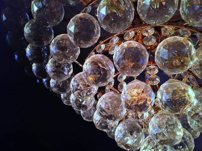 Close-up No People Lighting Equipment Bubble Shiny Chandelier Low Angle View Shape Geometric Shape Luxury Crystal Circle Indoors  Wealth Vulnerability  Decoration Nature Fragility Sphere Reflection