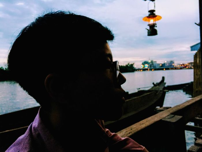 Someone waiting something new. Close-up Day Headshot Leisure Activity Men Nautical Vessel One Person Outdoors People Real People Sky Water Young Adult