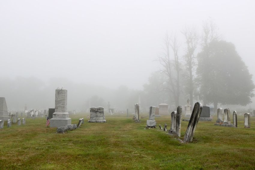 foggy cemetary Cemetery Day Fog Grass Grave Gravestone Graveyard Hazy  Landscape Memorial Nature No People Outdoors Sky Tombstone Tree Weather