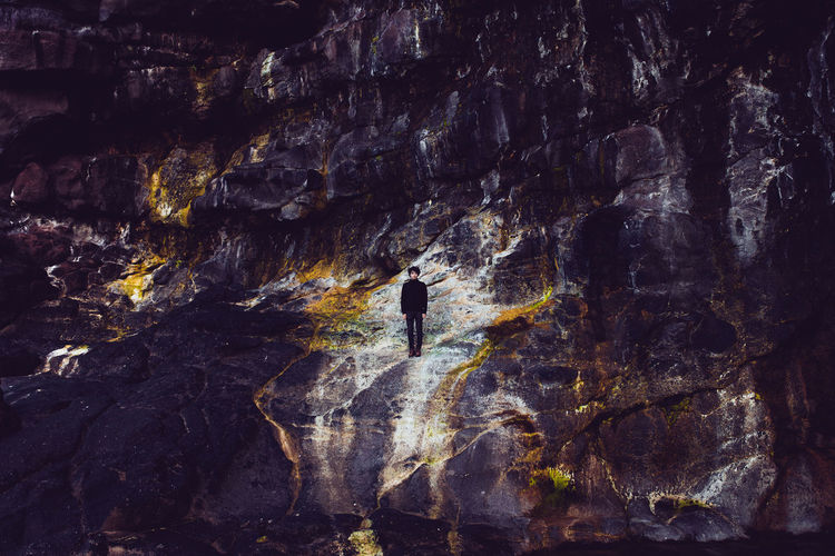 Backgrounds Boy Cliffs Close-up Day Faroe Islands Färöer Man Nature Outdoors Standing Textured  Wall