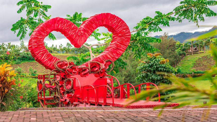 Red heart shape on tree against sky