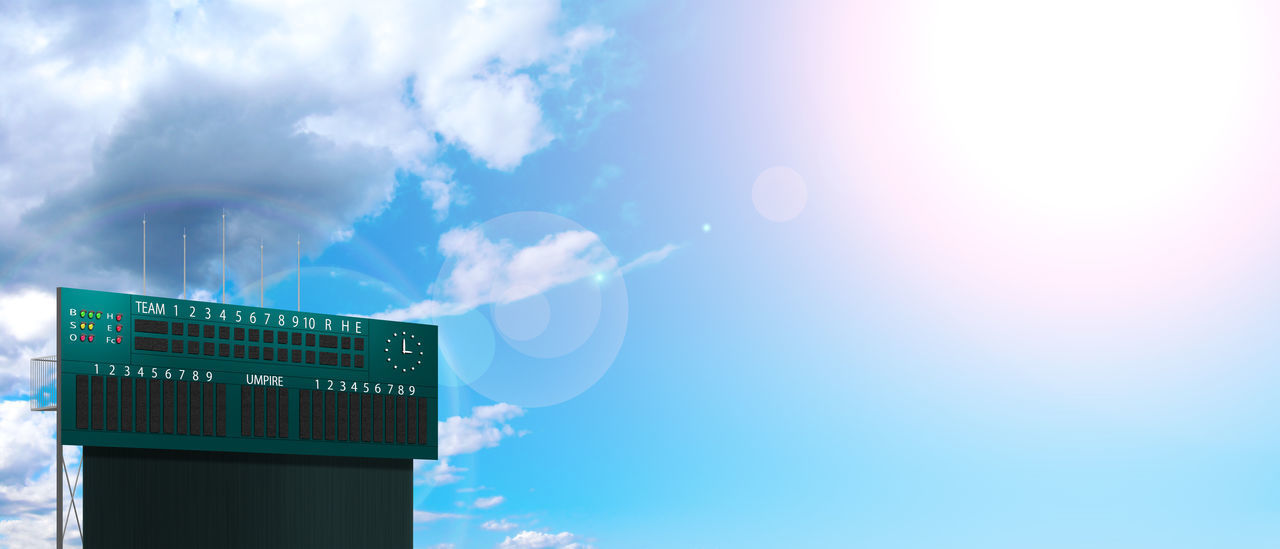 sky, cloud - sky, no people, communication, nature, blue, day, outdoors, lens flare, low angle view, sunlight, number, technology, text, sign, guidance, architecture, built structure, building exterior, copy space, digital composite