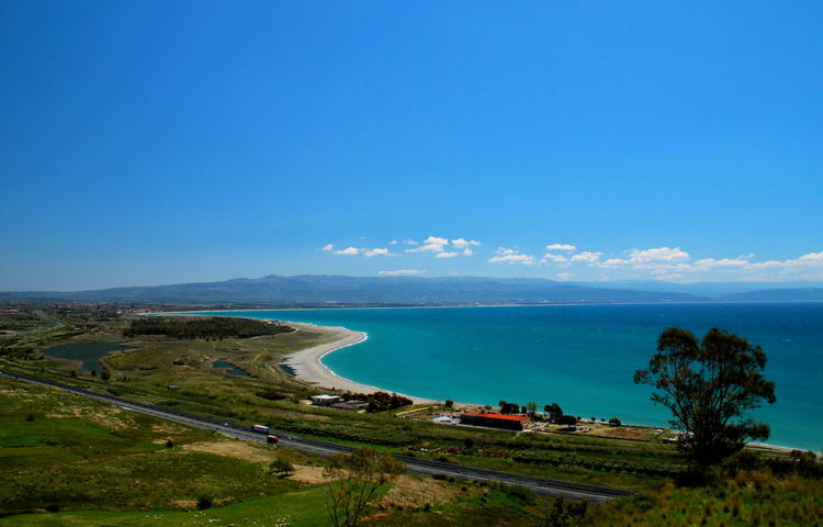 Beach Blue Blue Sea Blue Sky Coast Coastline Grass High Angle View Highway Lakes  Landscape Mediterranean  Motorway Nature No People Ponds Sea Sea And Sky Seaside Shore Shoreline Tree Turquoise Turquoise Water Water