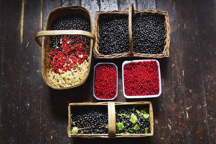 Abundance Arrangement Berries Black Color Box - Container Close-up Countryside Countryside Glamour Currants Day Large Group Of Objects No People Red Side By Side Still Life