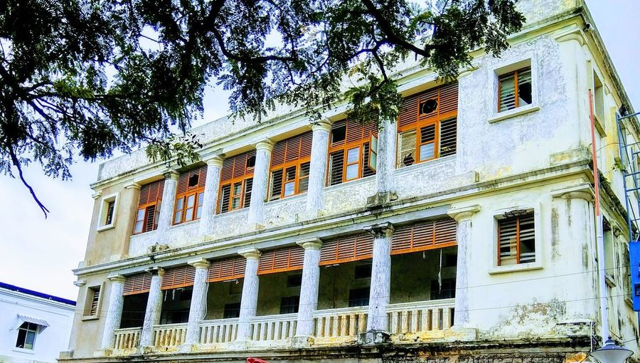French Colony Pondicherry Architecture Built Structure Building Exterior Low Angle View Day Window Outdoors Tree No People Sky Perspectives On Nature