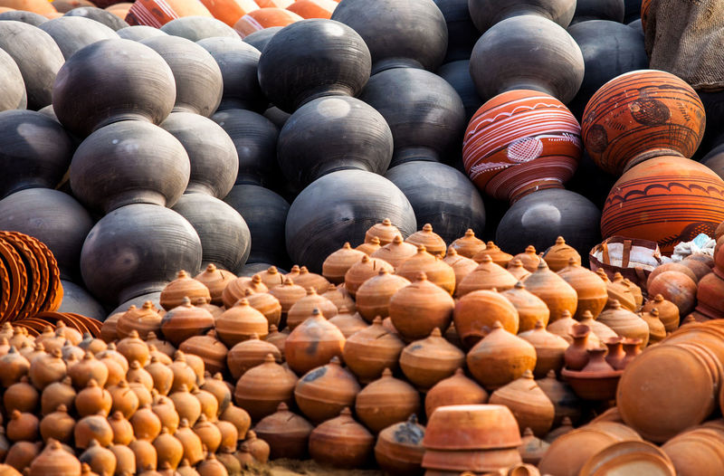 Backgrounds Of Earthen Clay Pots And Vases