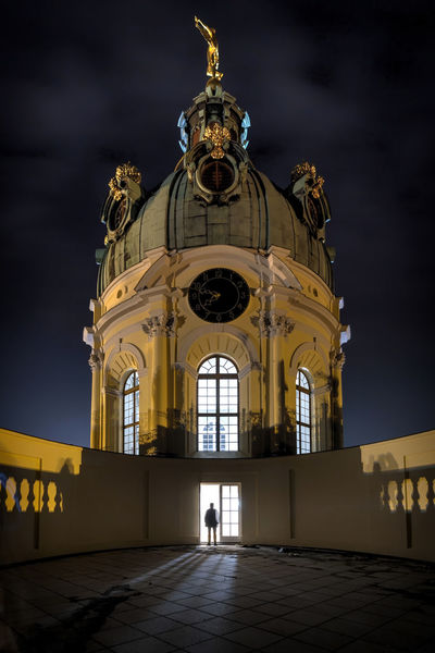 Charlottenburg Palace Berlin Berlin Charlottenburg Palace Architecture Building Exterior Built Structure City Dome Façade Full Length Gold Colored History Illuminated Low Angle View Night One Person Outdoors People Place Of Worship Real People Religion Schlösser Sky Spirituality Statue Travel Destinations