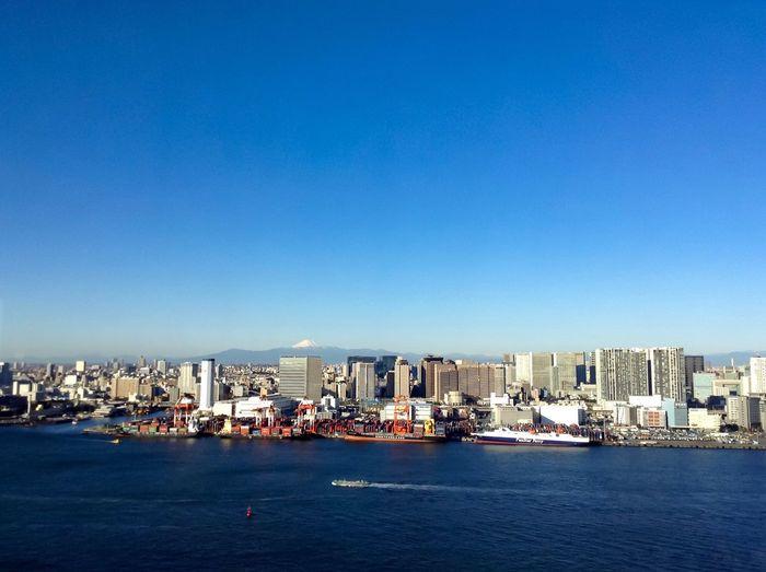 Cityscape against clear sky