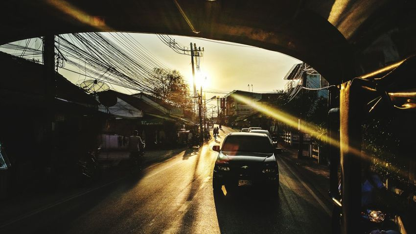 Phuket Town Phuket Thailand Songthaew Two Rows Lens Flare Evening Sunshine Southern Thailand Southeast Asia Outdoors Street ASIA Sunset Sky