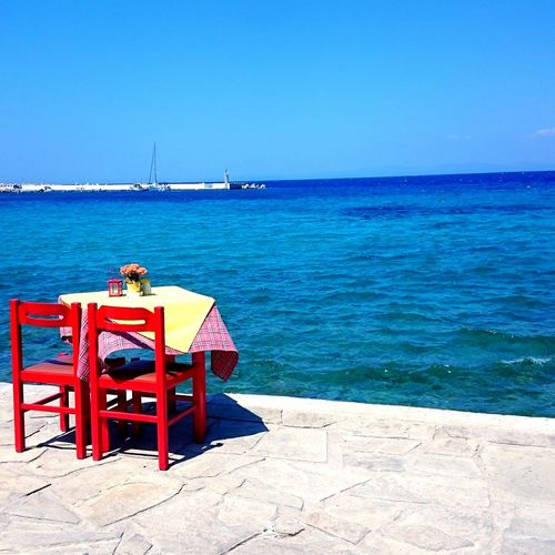 Endless Summer Enjoying Life Edge Of The World Blue Sea Blue Sky Samos Island, Greece Table For Two Endless View EyeEm Best Shots Blue Wave My Favorite Photo My Year My View