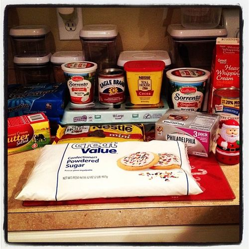 All the ingredients to make Chocolatechipcookiecheesecake and NYstylecheesecake Iwillbeupallnight Ilovetobake thanksgiving desserts yummy