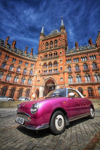 A classic, purple car with the beautiful architecture of The St Pancras Hotel behind. Classic Car Classic Cars St Pancras London Londonlife Londonthroughmycam London_only LONDON❤ Hotel Architecture Architecture_collection Architectural Detail Architecturelovers Gothic Gothic Architecture Car Cars Carsofeyeem Carsofinstagram Carspotting Purple Purplelicious Let's Go. Together.