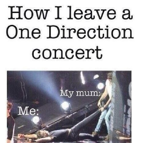 How will I go to the concert Onedirection :) x ** Me: My mom: Hahaha ... Funny Crazy hahahaha o_O Direcrioner