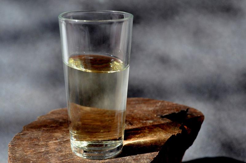 Glass with golden sherry wine Sherry Wine Wine Drink Drinking Glass Alcohol Filling Studio Shot Close-up Shot Glass Wineglass White Wine