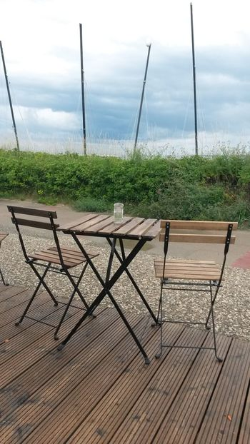 someone is missing... Stuhlleben 😂 Eye4photography  Clouds And Sky Open Edit Taking Photos Just For Fun Schleswig-Holstein Chairs Tranquility Oceanview Tadaa Community My Year My View Chairs And Tables Duet Lonely Objects