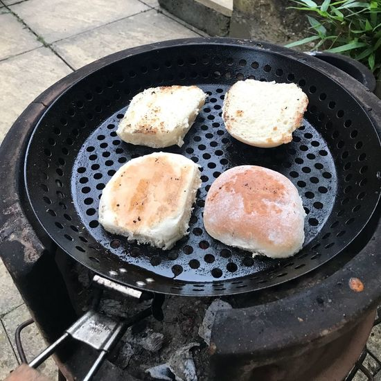 Outdoor Cooking Toasted Burger Buns Burger Buns Food And Drink Freshness Food High Angle View Preparation  Still Life Pan