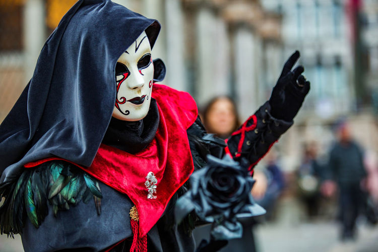 Person wearing costume and mask during venice carnival