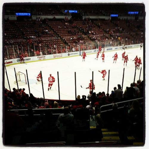 Pregame warmup! Row15 Freetickets GOWINGS REDWINGS Detroit Lowerbowl