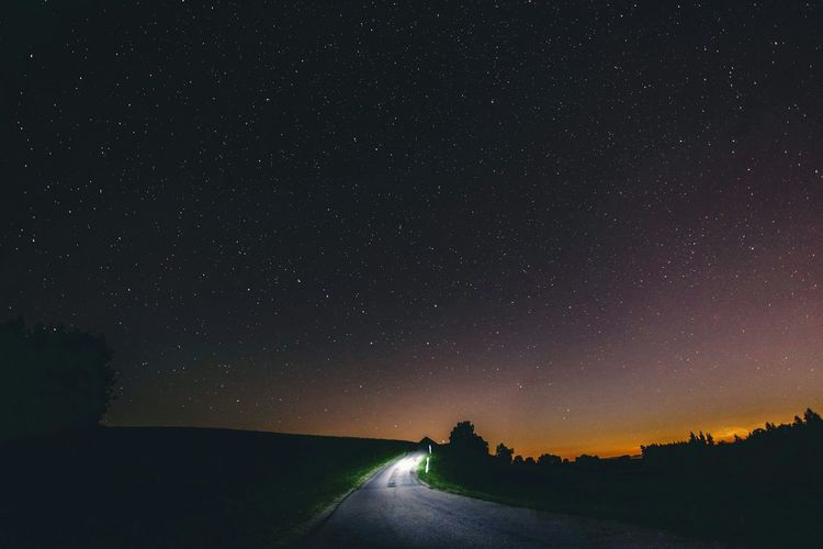 The nights are cold Night Stars Road Nature Landscape