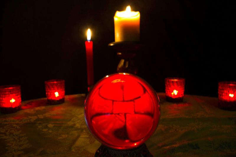 """""""In preparation for the sacrifice"""" (2014) Dark Room Candles Candles Burning Candle Lit Red Color Crystal Ball Altar Ritual Items Ritual Ceremony Rituals Sacrificial Table Indoors  No People Black Magic"""