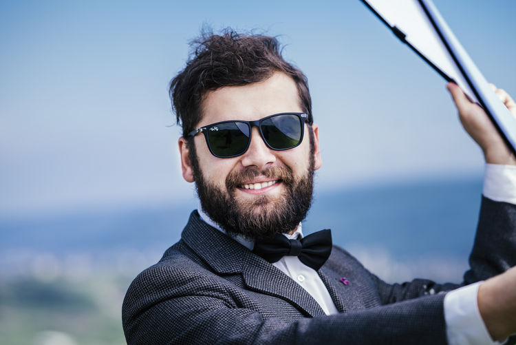 Portrait Fashion Sunglasses Glasses Young Adult One Person Smiling Headshot Lifestyles Young Men Looking At Camera Sky Beard Focus On Foreground Men Day Front View Happiness Outdoors Gigkuji My Best Photo