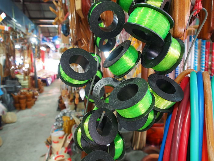 Circles Close-up Day Green Green Circle Green Color Green Objects Hanging Hold Large Group Of Objects Lines Market Market Marketplace No People Outdoors