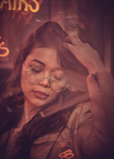 Model: Oleander Omega - Instagram: @oleandrega City Nights Cocktail London Portrait Of A Woman Reflection Close-up Eyeglasses  Illuminated Indoors  Neon Night One Person People Portrait Real People Red Light Smiling Young Adult Young Women The Portraitist - 2018 EyeEm Awards