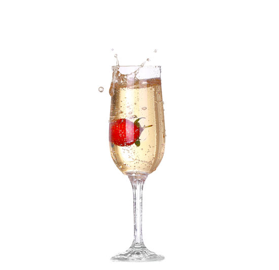 Red wine against white background