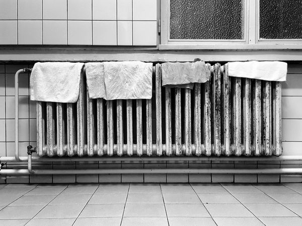 No People Blackandwhite Tiles Rusty Heater Rags Monochrome Photography
