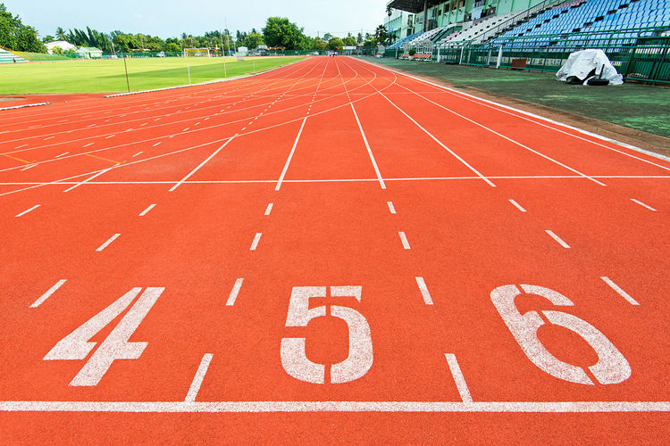 Close-up of numbers on running track