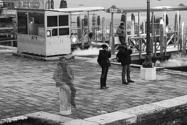 Two photographers and a ghost. Glitch Taking Photos Black&white Streetphoto_bw Experimental Italy Venice, Italy Taking Photos Ghostbusters People B&w Street Photography People Together