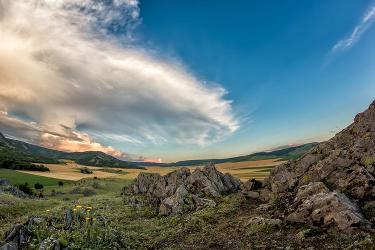 Grass Green Color Panoramic Sunny Beauty In Nature Cliff Cloud - Sky Clouds Colorful Countryside Environment Europe Hill Landscape Mountain Nature Outdoors Park Peaks Rocks Scenics - Nature Stone Summer Tourism Valley