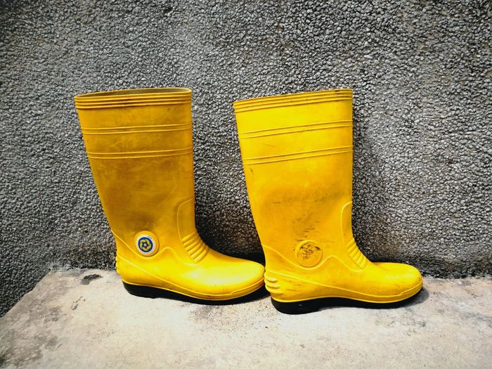 Yellow No People Close-up Day Indoors  Boots Construction Contrast Working Labour The Week Of Eyeem