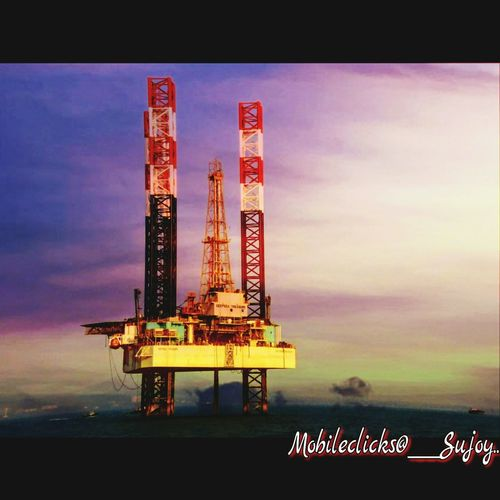 Oil rig in Arabian Sea. Oil Rigs In The Distance Skyscape Seaview Sea And Sky Landscape Nature_collection Place Of Heart